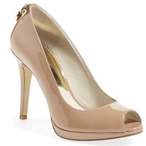 Michael Kors Natural Hamilton Peep Toe Pumps